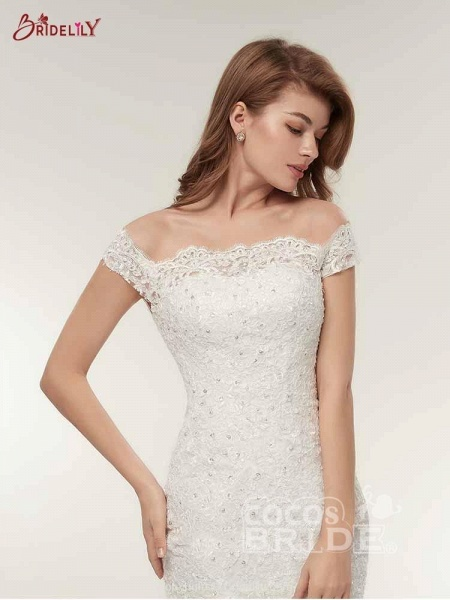 Off-The-Shoulder Bateau Mermaid Wedding Dresses_4