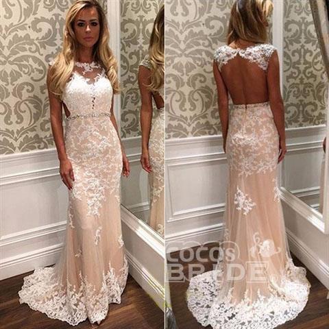 Mermaid Tulle Beach White Lace Appliques Wedding Dress_2