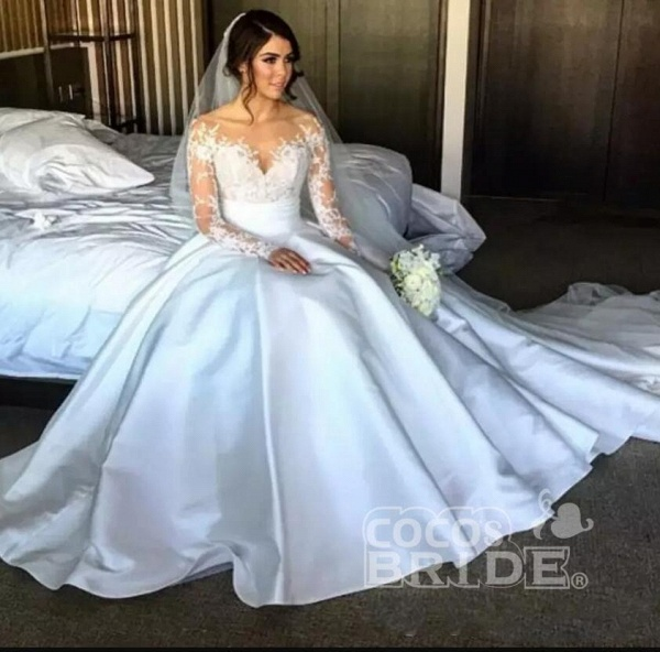 Romantic Lace Satin Skirt with Long Sleeves Illusion Back Wedding Dress_4
