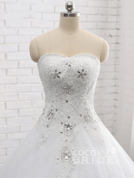Gorgeous Sweetheart Appliques Ball Gown Wedding Dresses_4