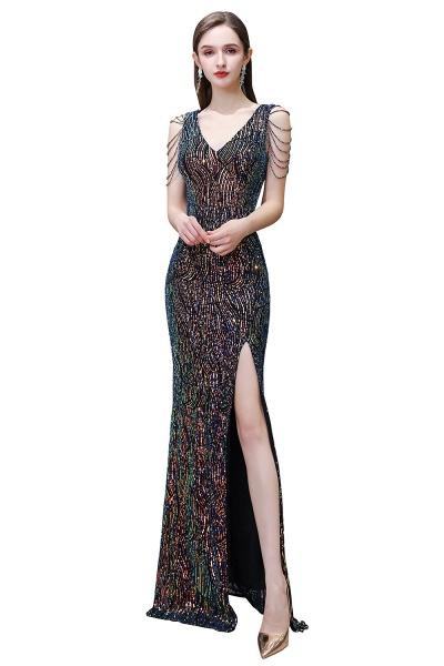 V-Neck Sequins Long Evening Dress With Split_1