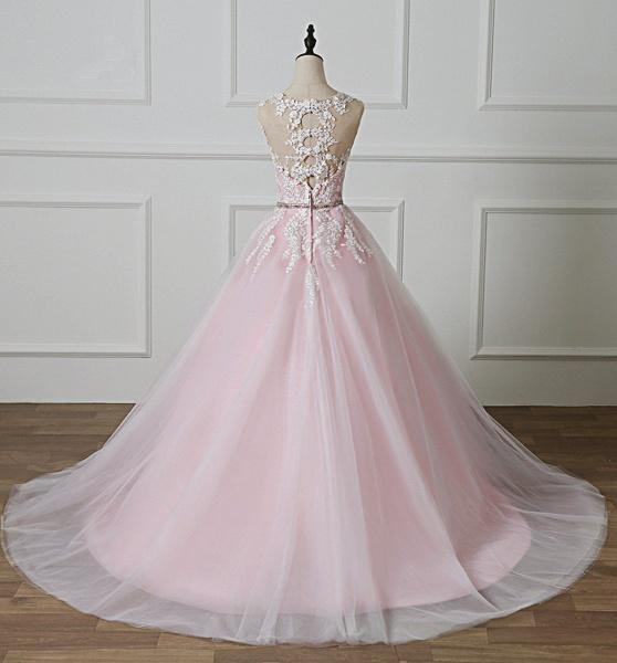 Light Pink Scoop Neck Lace Applique  Beaded Wedding Dress_4