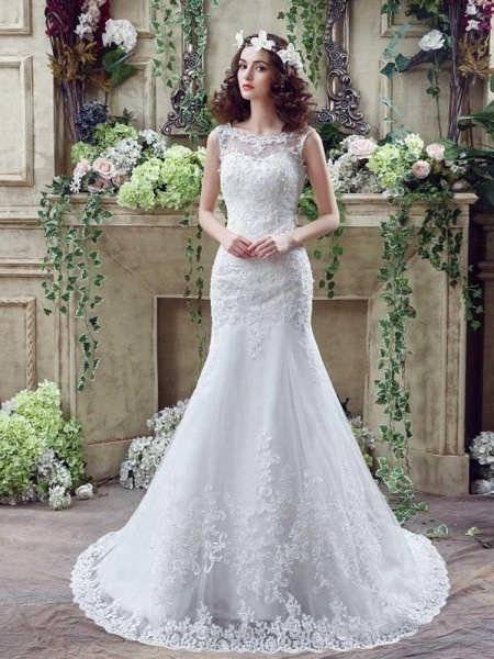 Elegant Beaded Tulle Mermaid Wedding Dresses