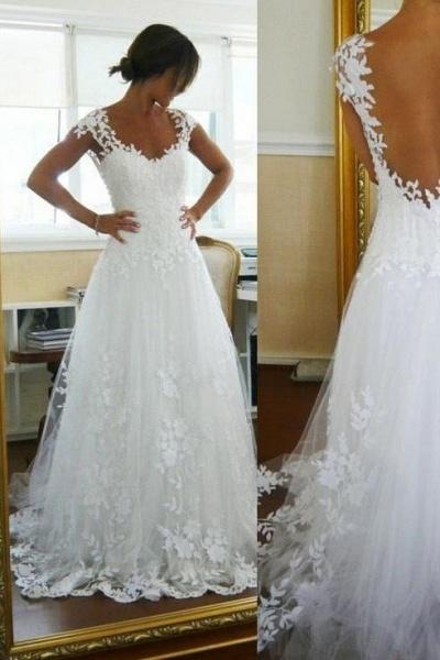 A-Line Lace White Straps Pretty Sleeveless Wedding Dress_1