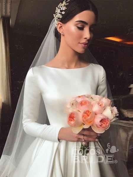 Simple Jewel Long Sleeve A-line Wedding Dresses_6
