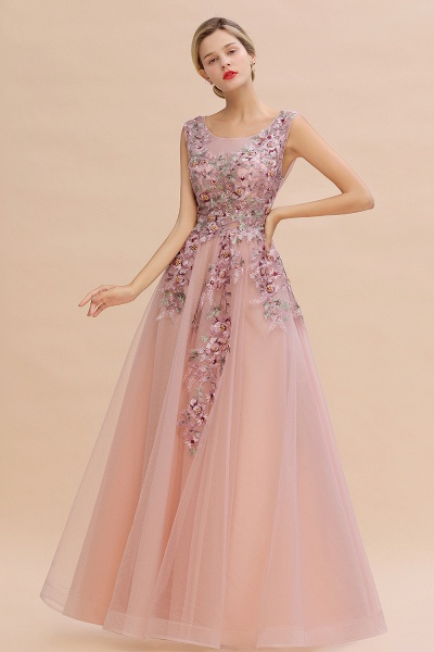 Gorgeous Dusty Pink Tulle Long Lace Appliques Prom Dress_2