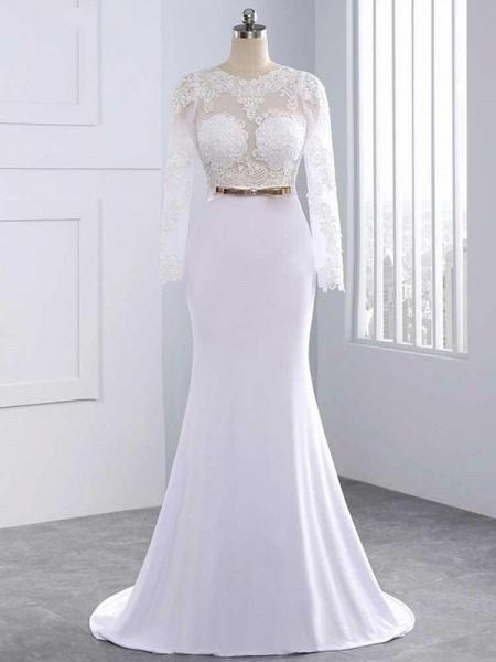 Elegant Long Sleeves Lace Mermaid Sashes Wedding Dresses_1