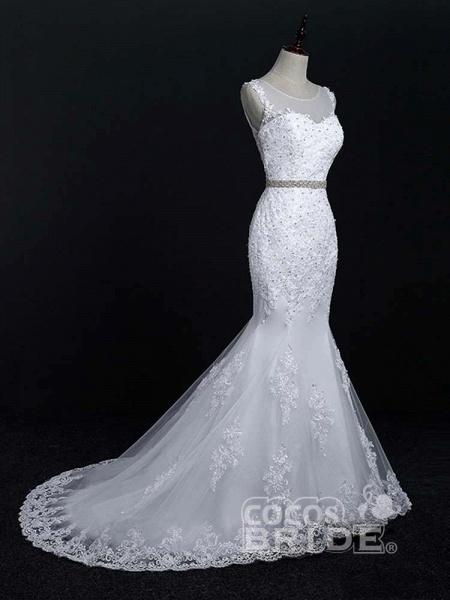 Lace Sashes Mermaid Wedding Dresses_2