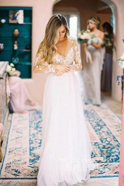Chic A-line Long Sleeve Lace Backless Country Wedding Dress_4