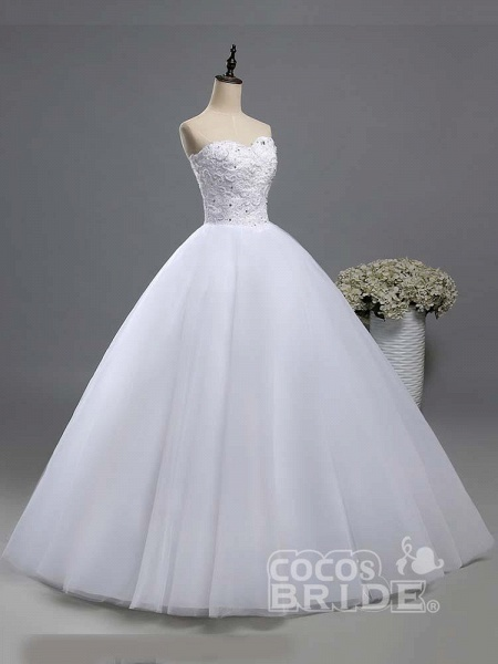 Gorgeous Sweetheart Beaded Tulle Ball Gown Wedding Dresses_3