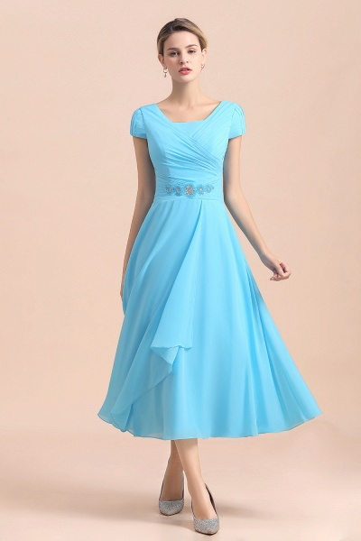 Blue Short Sleeves Chiffon Ruffles Tea-length Mother of the Bride Dress_7