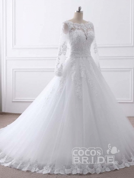 Long Sleeves Lace Ribbon Ball Gown Wedding Dresses_5