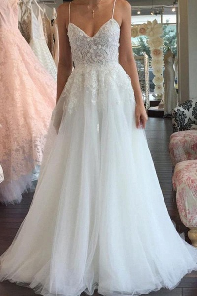 A Line Spaghetti Straps V Neck Floor Ivory Tulle Beach Wedding Dress_1