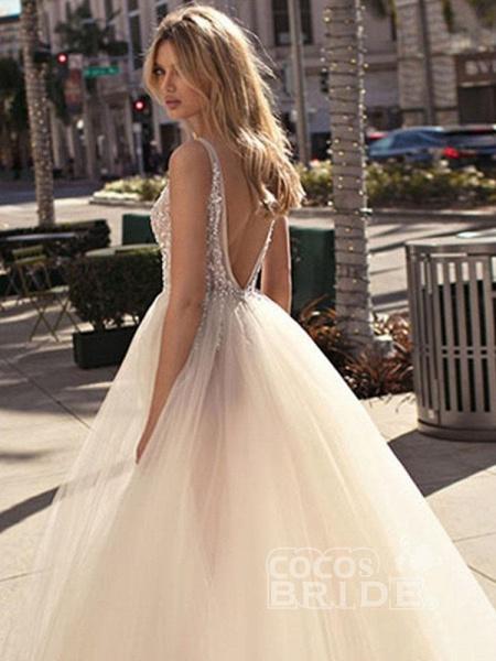 Graceful High Split V-neck Sequins Tulle Wedding Dresses_3