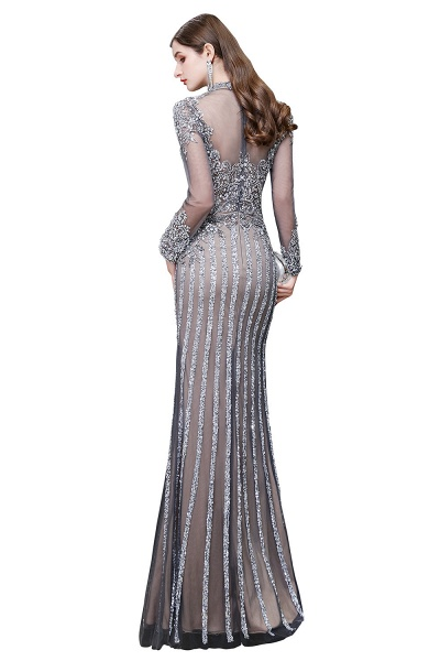 Long Sleeve Mermaid Sequins High-Neck Evening Gowns_15