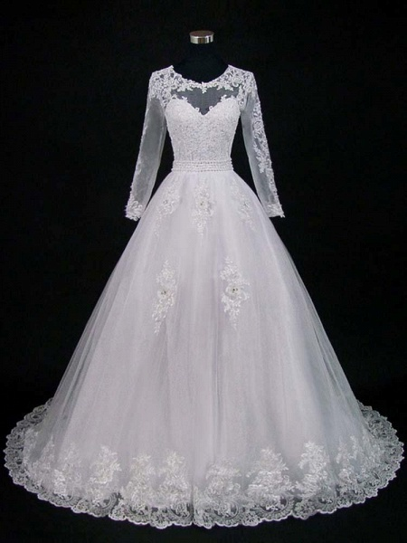 Lace Appliques Pearls Long Sleeves Wedding Dresses_1