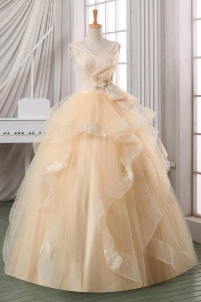Layering V-Neck Applique Bowknot A-Line Ball Gown Wedding Dresses_1