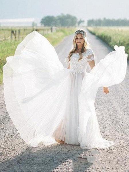 Elegant Short Sleeves Lace Tulle Wedding Dresses_1