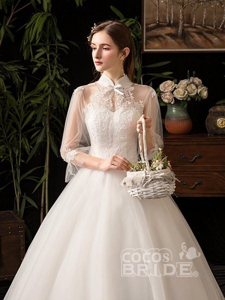 Gorgeous High Collar 3/4 Sleeve Lace-Up Ball Gown Wedding Dresses_5