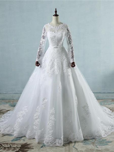 Elegant Long Sleeves Corset lace up Wedding Dresses_1