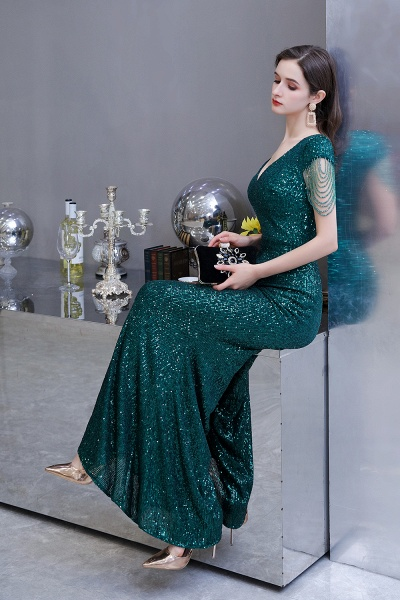 Elegant Cap Sleeve Green Sequins Long Prom Dress_16