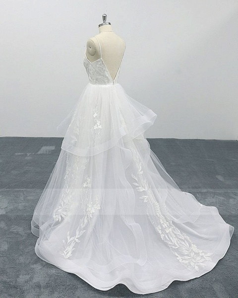 White Lace Layered A Line Thin Straps Fairytale Wedding Dress_2