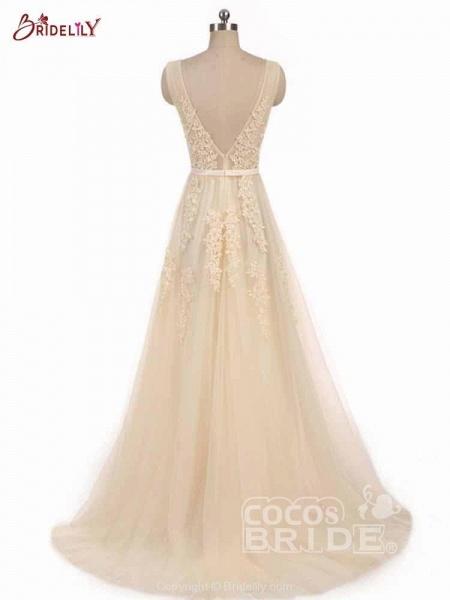 Glamorous V-Neck Lace Ribbon A-line Wedding Dresses_3