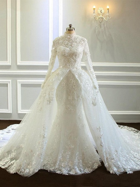 Amazing Long Sleeves High Collar Wedding Dresses with Train_1