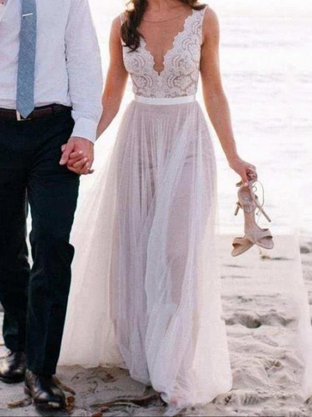 V Neck A-Line Long Tulle Wedding Dresses With Lace Top_1