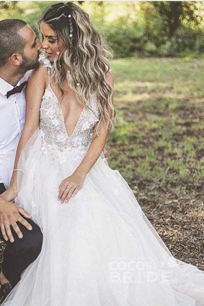 Deep V-neck Beading Straps Tulle Appliques A-line Custom Beach Wedding Dress_8