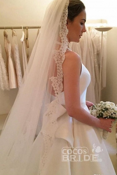 A Line Halter Satin Simple Backless Sleeveless Wedding Dress with Bow_4