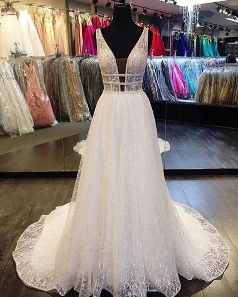 White Lace Deep V Neck Long Halter Wedding Dress_2