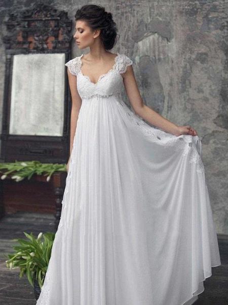 Gorgeous Off-the-Shoulder High Waist A Line Wedding Dresses_1