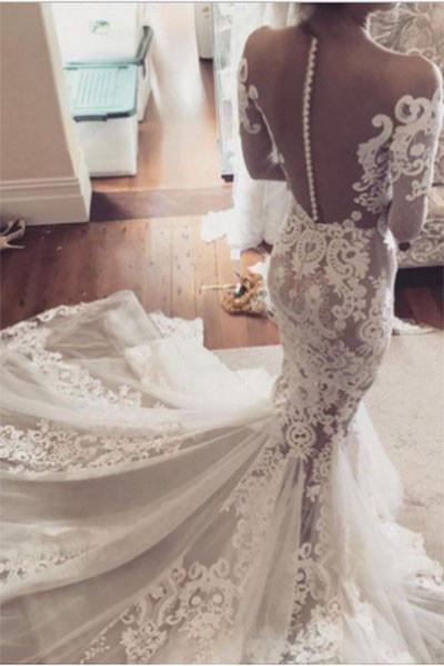 Pretty Mermaid Lace Appliques Long Sleeves Sheer Tulle Wedding Dress_1