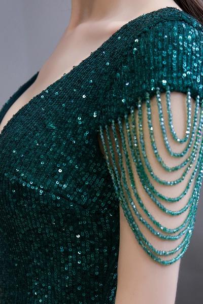 Elegant Cap Sleeve Green Sequins Long Prom Dress_13
