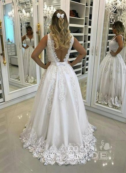 Elegant Ivory Lace and Appliques Wedding Dresses_2