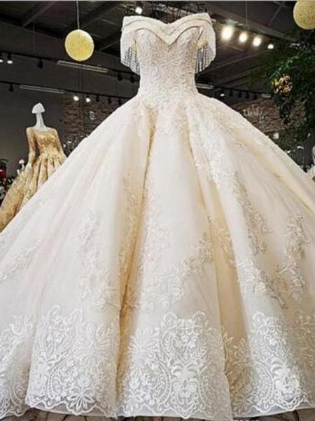 V-Neck Off-the-Shoulder Ball Gown Wedding Dresses Beaded Appliques_1