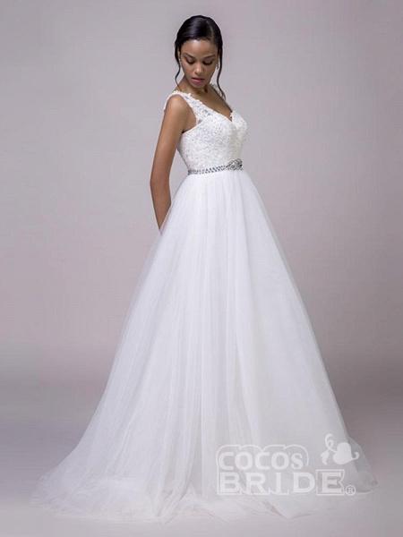 Fancy V-Neck Lace Up Sleeveless A Line Wedding Dresses_4