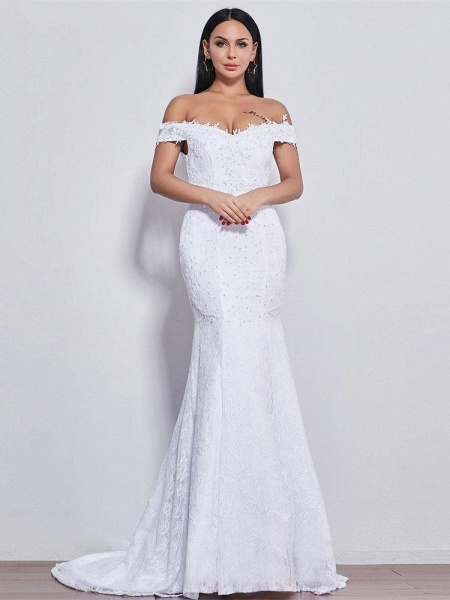 Off-the-shoulder Sweetheart Beaded Mermaid Wedding Dresses_1