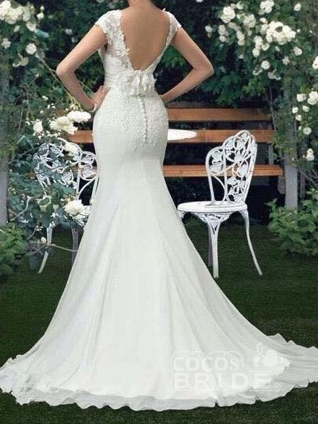 Scoop Cap Sleeves Lace Mermaid Wedding Dresses_2