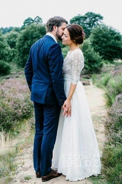 Floor Length Chiffon Beach Lace Backless Wedding Dress_5