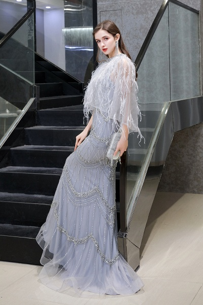 Gorgeous Silver Feather Cape Mermaid Sparkle Prom Dresses_4