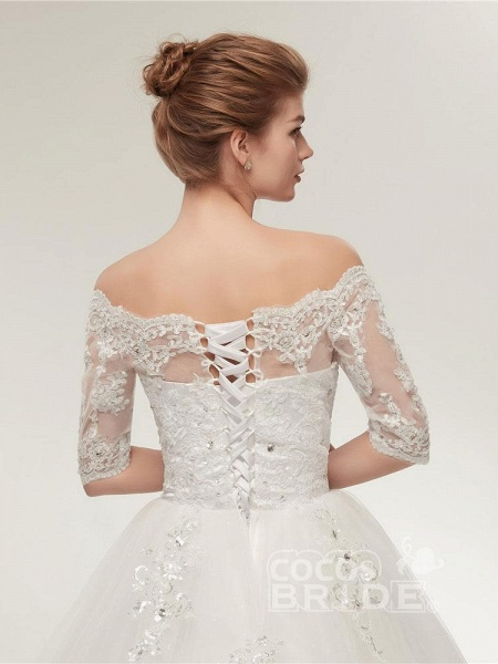 Off-the-Shoulder Half Sleeves Lace Ball Gown Wedding Dresses_6