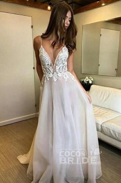 Deep V-neck Spaghetti Straps Lace Appliqued Beach Wedding Dress_3