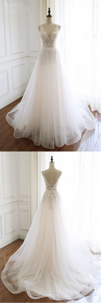 White Tulle Lace Custom Size Long Wedding Dress_4