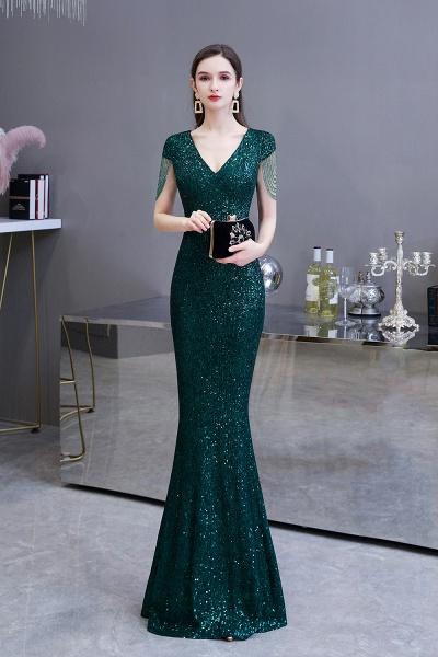 Elegant Cap Sleeve Green Sequins Long Prom Dress_3