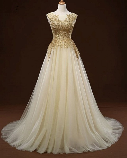 White Tulle Long Gold Applique Wedding Dress_2