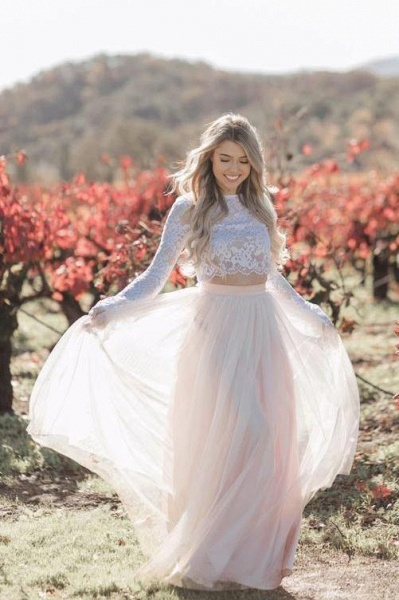 Two Piece Long Sleeves Lace Blush Pink Boho Beach Wedding Dress_1