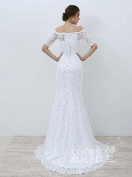 Elegant Half-Sleeves Lace Mermaid Wedding Dresses_2