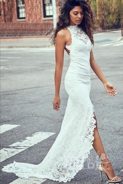 Sexy Mermaid Jewel Lace Backless With Court Train Beach Wedding Dress_3